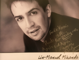 "For Doctor Korovin - Thanks for saving me again and again."" Lin-Manuel Miranda"
